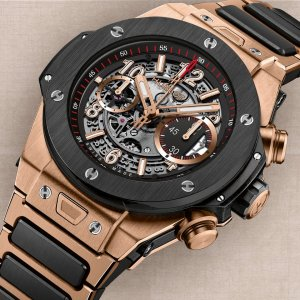 HUBLOT [NEW] BIG BANG UNICO KING GOLD CERAMIC BRACELET WATCH 411.OM.1180.OM