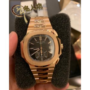 Patek Philippe [NEW] 5980/1R Nautilus Black Dial 18kt Rose Gold Chronograph Automatic (Retail:HK$636,600)