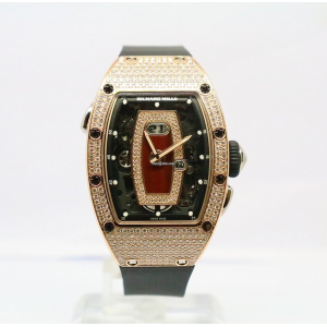 Richard Mille [NEW] RM 037 Automatic Rose Gold Ladies Full Pave Diamond Red Lip Watch