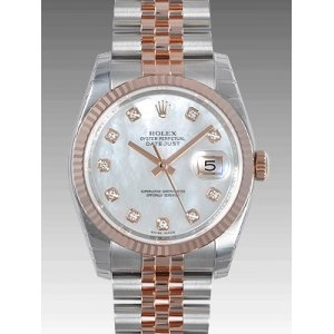 Rolex NEW-全新 116231NG White 36mm Datejust Mother Of Pearl Diamonds Watch