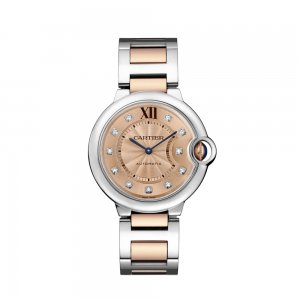 Cartier Ballon Bleu Rose Gold Dial Steel and 18kt Rose Gold 36mm Ladies Watch WE902054 (List Price: HK$94,500)