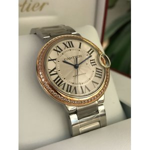 Cartier NEW-全新 Ballon Bleu 18K Rose Gold Diamonds Silvery White Automatic Ladies WE902081