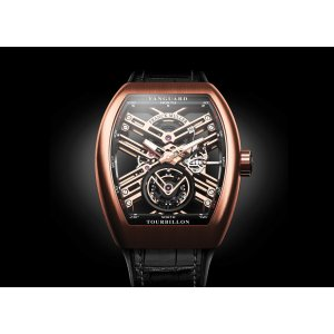 Franck Muller [NEW][2016 NOVELTY][RARE] Vanguard Tourbillon skeleton Rose Gold (Retail:CHF 140000)