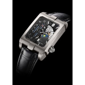 Harry Winston [NEW] Avenue Dual Time automatic zalium timepiece AVEATZ37ZZ001