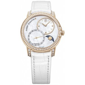 Harry Winston [NEW] Midnight Moon Phase 36mm automatic 18K rose gold timepiece white light mother of pearl partially set dial MIDAMP36RR001