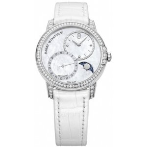 Harry Winston [NEW] Midnight Moon Phase 36mm automatic 18K white gold timepiece white light mother of pearl partially set dial MIDAMP36WW001