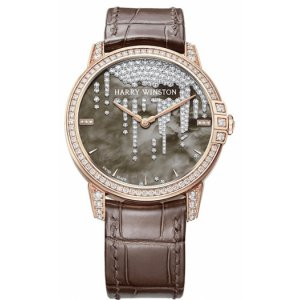 Harry Winston [NEW] Midnight Stalactites 36mm automatic 18K rose gold timepiece black dark mother of pearl partially MIDAHM36RR001