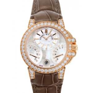 Harry Winston [NEW] Ocean Biretrograde 36mm automatic 18K rose gold timepiece white light mother of pearl indexes OCEABI36RR030