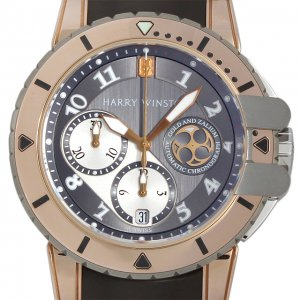 Harry Winston [NEW] Ocean Diver automatic 18K rose gold and zalium timepiece black dark dial OCEACH44RZ001