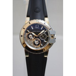 Harry Winston [NEW] Ocean Diver automatic 18K rose gold and zalium timepiece black dark dial OCEACH44RZ005