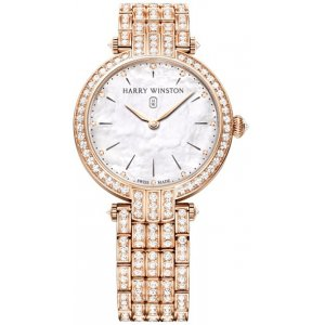 Harry Winston [NEW] Premier 31mm quartz 18K rose gold timepiece white light mother of pearl indexes set dial PRNQHM31RR004