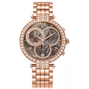 Harry Winston [NEW] Premier chronograph 40mm quartz 18K rose gold timepiece on gold bracelet brown mother of pearl partially PRNQCH40RR004