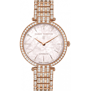 Harry Winston [NEW] Premier Ladies 36mm automatic 18K rose gold timepiece on gold bracelet fully PRNAHM36RR003