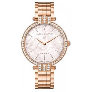 Harry Winston [NEW] Premier Ladies 36mm automatic 18K rose gold timepiece on gold bracelet pink mother of pearl PRNAHM36RR002