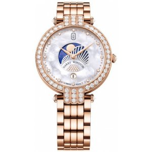 Harry Winston [NEW] Premier Moon Phase 36mm quartz 18K rose gold timepiece white light mother of pearl partially set dial PRNQMP36RR003