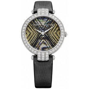 Harry Winston [NEW] Premier Precious Weaving 36mm limited edition automatic 18K white gold timepiece yellow mother of pearl dial PRNAHM36WW007