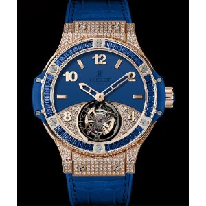 Hublot [NEW][LIMITED 18] Big Bang Tutti Frutti Tourbillon Dark Blue Pavé Diamond 345.PL.5190.LR.0901 (Retail:CHF 140,000)