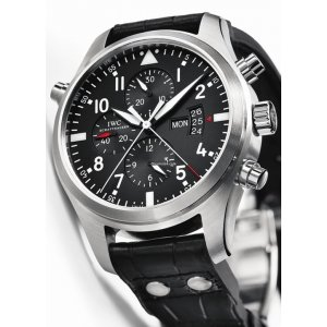 IWC [NEW] Pilot's Watch Double Chronograph Black IW377801 (Retail:HK$95,000)
