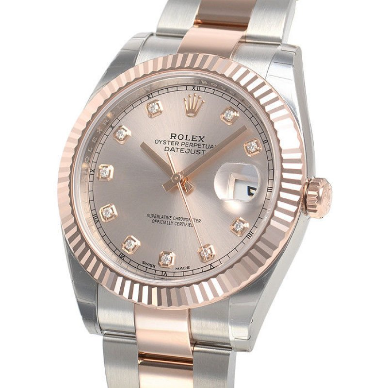 quality design b6a62 bc5db Rolex [NEW] DATEJUST 41mm 126331G Mens Oyster Pink Diamond Dial Watch