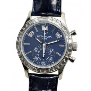 Patek Philippe [NEW] 5961P-001 Diamond Platinum Blue Annual Calendar Chronograph (Retail: HK$1,103,400)