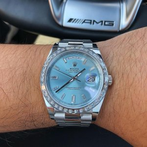 Rolex [NEW] 228396TBR Platinum Day-Date Baguette Diamond 40mm Ice Blue Diamond Dial Watch