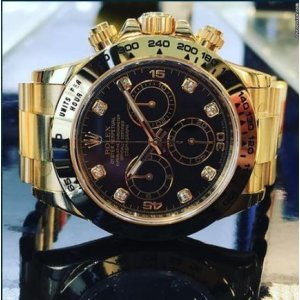 Rolex [NEW] Cosmograph Daytona Black Dial Yellow Gold Diamond 116508G