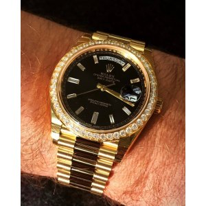 Rolex [NEW] Day-Date 40mm228348RBR Black Diamond Dial Mens Yellow Gold Watch (Retail:HK$410,500)