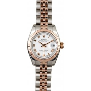 Rolex [NEW] Ladies Datejust Steel & Rose Gold Fluted Bezel Jubilee 179171 White Roman Dial (Retail:HK$66,100)