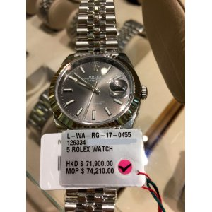 Rolex NEW-全新 Datejust 41mm 126334 Gray dial Index Watch (Retail:HK$71,900)