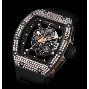 Richard Mille [NEW] RM 055 Bubba Watson Rose Gold Carbon TPT Med Set Diamond Watch