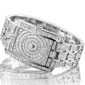 Harry Winston [NEW] Avenue C Large quartz 18K white gold on gold bracelet set with baguettes AVCQHM35WW001