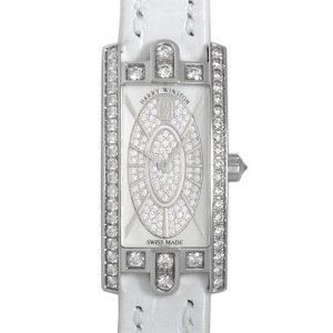 Harry Winston [NEW] Avenue Classic quartz 18K white gold timepiece black dark mother of pearl partially AVEQHM21WW242