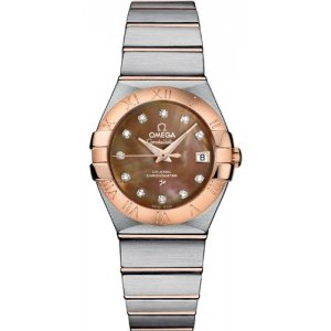 Omega [NEW] Constellation Brown Mother of Pearl Dial Ladies 12320272057001 (Retail: HK$68,800)