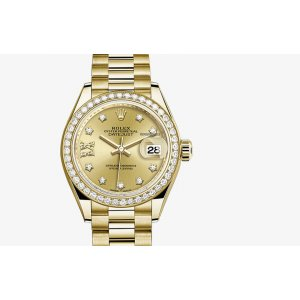 ROLEX [NEW] 28mm DATEJUST CHAMPAGNE SET WITH DIAMONDS PRESIDENT BRACELET (Retail:HK$265,100)