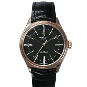 Rolex [NEW] Cellini Time 50505 Rose Gold Black Dial (Retail:HK$118,500)