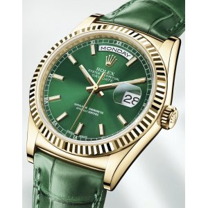 Rolex [NEW] Day-Date 118138 Yellow Gold Green Dial 36mm (Retail:HK$162,000)