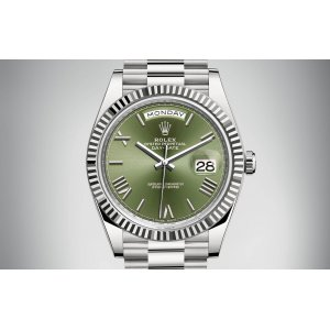 Rolex [NEW] Day-Date 40mm 228239 White Gold Olive Green (Retail:HK$278,200)