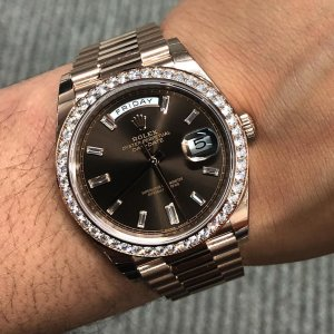 Rolex [NEW] Day-Date 40mm Rose Gold 228345RBR Chocolate Diamond Dial & Diamond Bezel President Bracelet (Retail:HK$430,600)