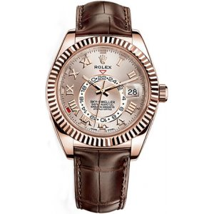 Rolex [NEW] SKY-DWELLER 42mm EVEROSE GOLD SILVER DIAL 326135 (Retail:HK$307,600)